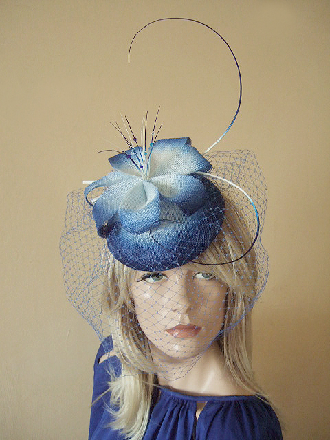 Royal Blue White Ombre Veiled Headpiece Fascinator. UK Millinery Hats for  the Races 5fd6379c09a